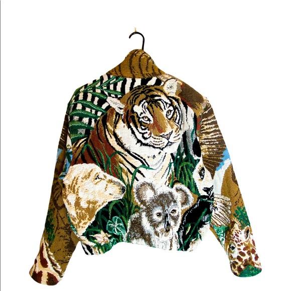 VTG Painted Pony Zoo Animal Tapestry Jacket OS